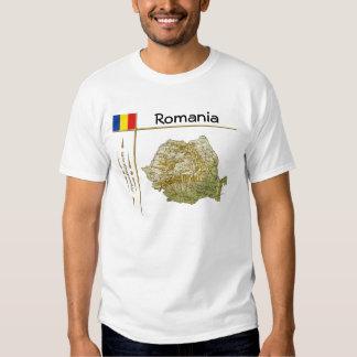 Romania Map + Flag + Title T-Shirt