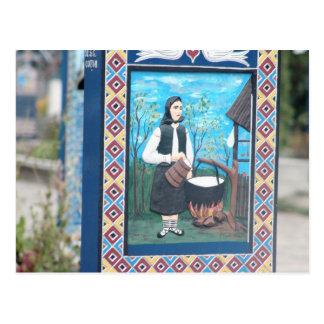 Romania, Mara Moresh, Merry Cemetery, wood carving Postcard