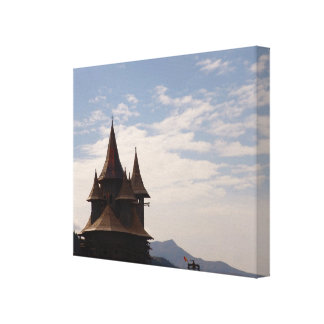 Romania, Moldova, Orthodox church on the hillside Canvas Print