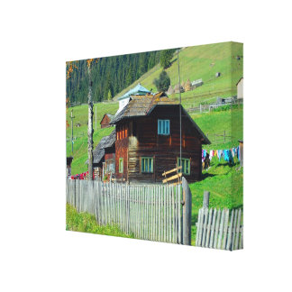 Romania, Moldova,  wooden farmhouse Canvas Print