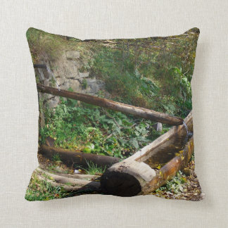 Romania, Moldova, wooden water trough Throw Pillow
