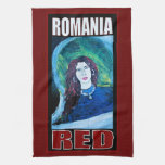 ROMANIA RED HAND TOWELS