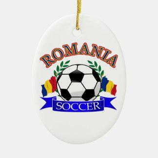 Romania soccer ball designs ceramic ornament