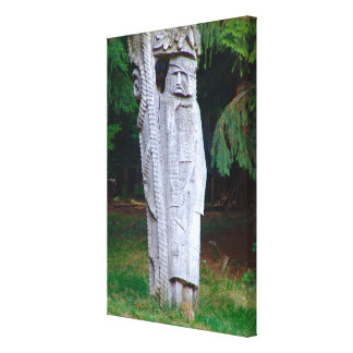 Romania, Traditional carved wooden figure Canvas Print