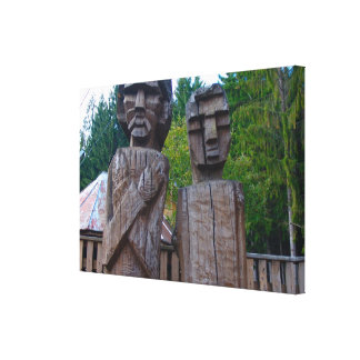 Romania, Traditional carved wooden figures Canvas Print