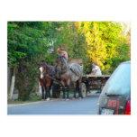 Romania, transport ancient and modern postcard