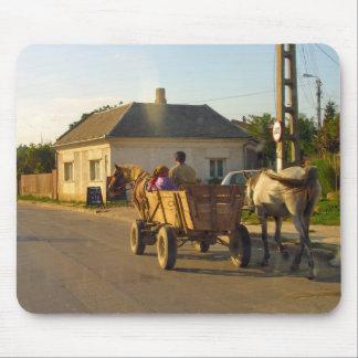 Romania, transport, horse drawn farm cart mouse pad