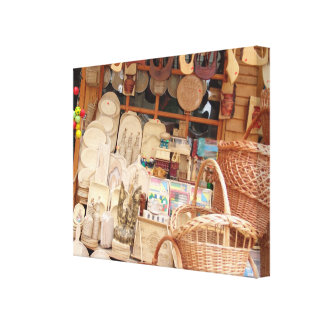 Romania,  Transylvania, Bran, Craft Stalls Canvas Print