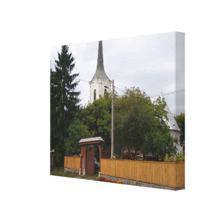 Romania,  Village church in Transylvania Canvas Print