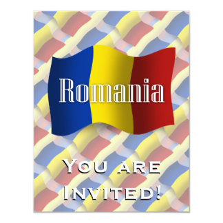 Romania Waving Flag 4.25x5.5 Paper Invitation Card
