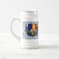 Romanian-American Shield Flag Beer Stein
