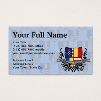 Romanian-American Shield Flag Business Card