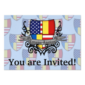 Romanian-American Shield Flag 5x7 Paper Invitation Card