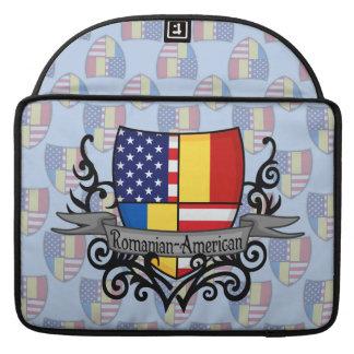 Romanian-American Shield Flag MacBook Pro Sleeves