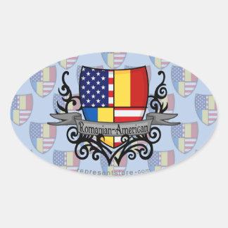 Romanian-American Shield Flag Oval Sticker