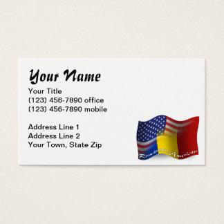 Romanian-American Waving Flag Business Card