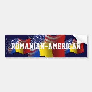Romanian-American Waving Flag Car Bumper Sticker