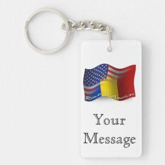 Romanian-American Waving Flag Double-Sided Rectangular Acrylic Keychain