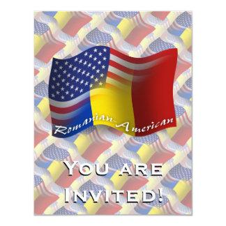 Romanian-American Waving Flag 4.25x5.5 Paper Invitation Card