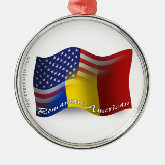 Romanian-American Waving Flag Metal Ornament