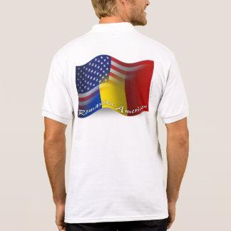 Romanian-American Waving Flag Polo T-shirt