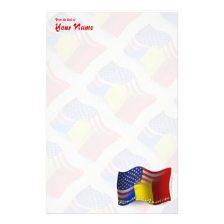 Romanian-American Waving Flag Stationery