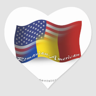 Romanian-American Waving Flag Heart Sticker