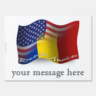 Romanian-American Waving Flag Signs