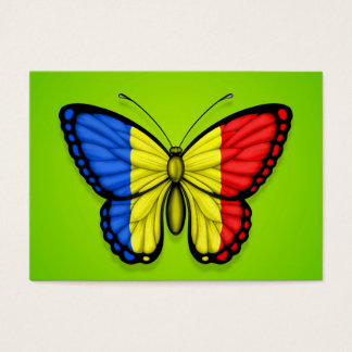 Romanian Butterfly Flag on Green Business Card