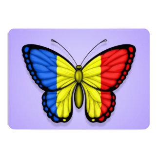 "Romanian Butterfly Flag on Purple 5"" X 7"" Invitation Card"