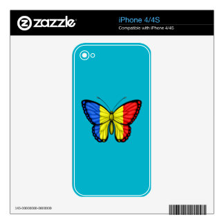 Romanian Butterfly Flag iPhone 4S Decals