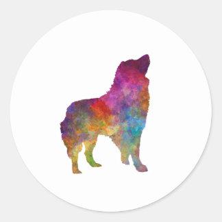 Romanian Carpathian Shepherd Dog in watercolor Classic Round Sticker