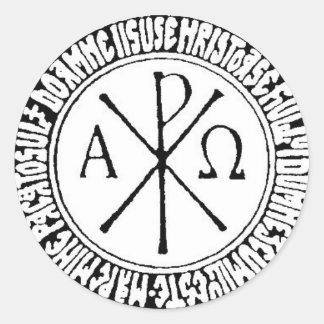Romanian Christogram with Jesus Prayer Classic Round Sticker