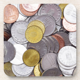 Romanian currency coins drink coaster