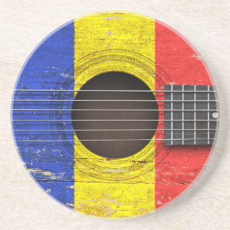 Romanian Flag on Old Acoustic Guitar Beverage Coaster
