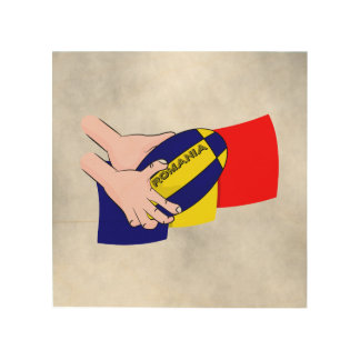 Romanian Flag Romania Rugby Supporters Wood Print