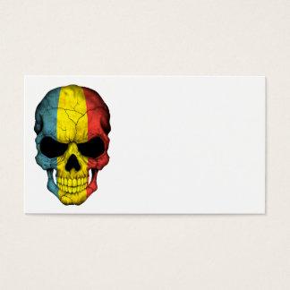 Romanian Flag Skull Business Card