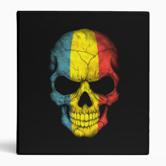 Romanian Flag Skull on Black 3 Ring Binder