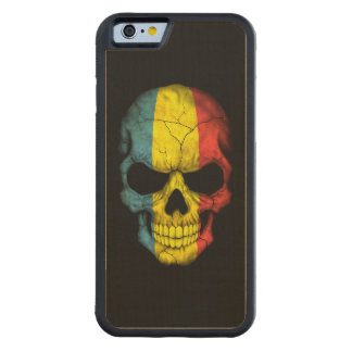 Romanian Flag Skull on Black Carved® Maple iPhone 6 Bumper Case
