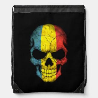 Romanian Flag Skull on Black Drawstring Backpack