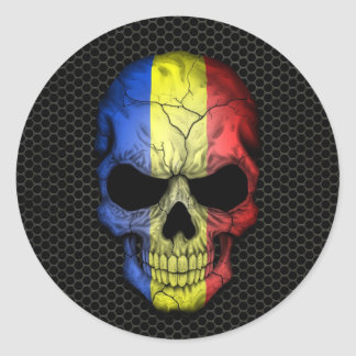 Romanian Flag Skull on Steel Mesh Graphic Classic Round Sticker
