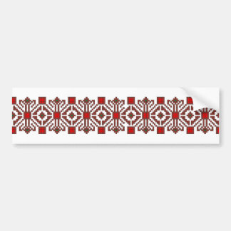 romanian folk costume stitch geometric floral art bumper sticker