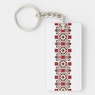 romanian folk costume stitch geometric floral art keychain