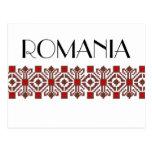 romanian folk costume stitch geometric floral art postcard