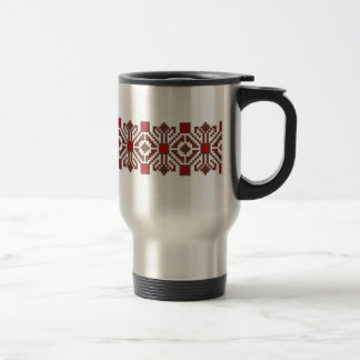 romanian folk costume stitch geometric floral art travel mug