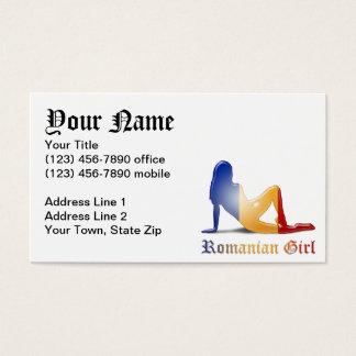 Romanian Girl Silhouette Flag Business Card