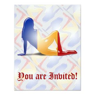 Romanian Girl Silhouette Flag 4.25x5.5 Paper Invitation Card