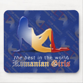 Romanian Girl Silhouette Flag Mousepads