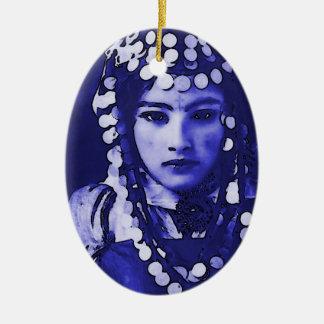Romanian Gypsy in Blue Headdress Ceramic Ornament