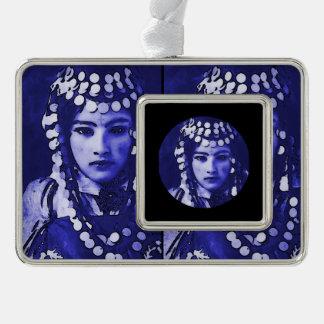 Romanian Gypsy in Blue Headdress Christmas Ornament